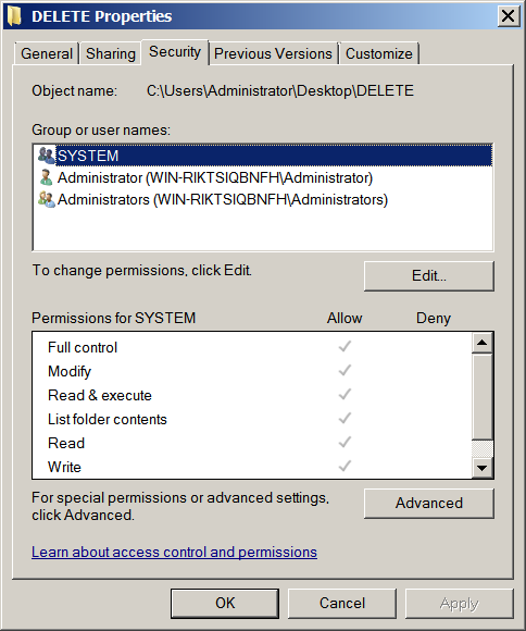 Security Permissions Dialog