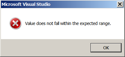 Error: Value does not fall within the expected range