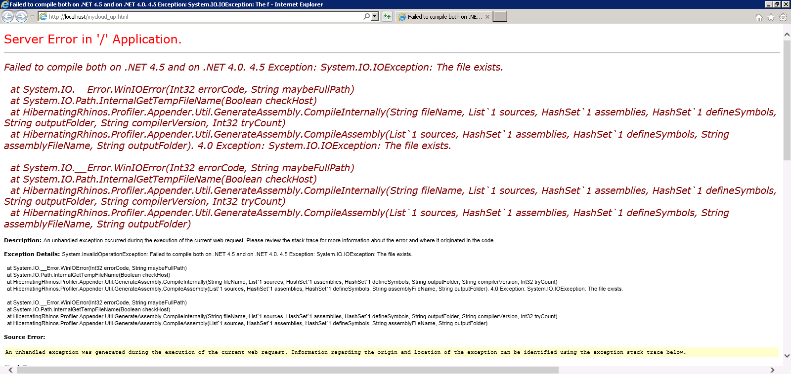 Error: Failed to compile both on  NET 4 5 and on  NET 4 0